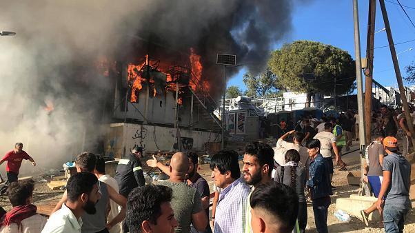 آتش سوزی در اردوگاه پناهجویان در ساموس یونان