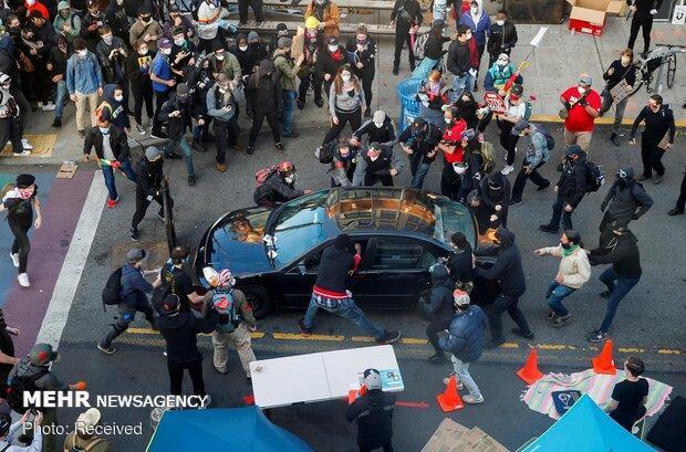 برخورد خودرو به معترضین ضد نژادپرستی در آمریکا 7 مجروح برجا گذاشت